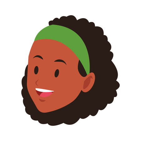 woman only face young afroamerican headband smiling vector illustration graphic design