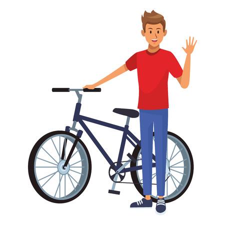 Homme disant salut tenue décontractée vector illustration graphic design Vecteurs