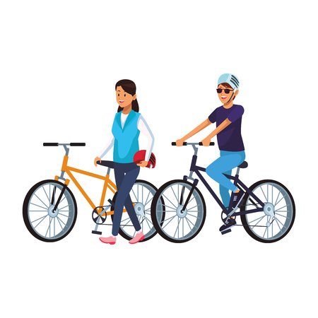 women in bicicles with helmet vector illustration graphic design