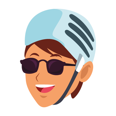 woman with helmet and sunglasses only face vector illustration graphic design
