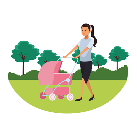 woman with pram pink parkscape vector illustration graphic design