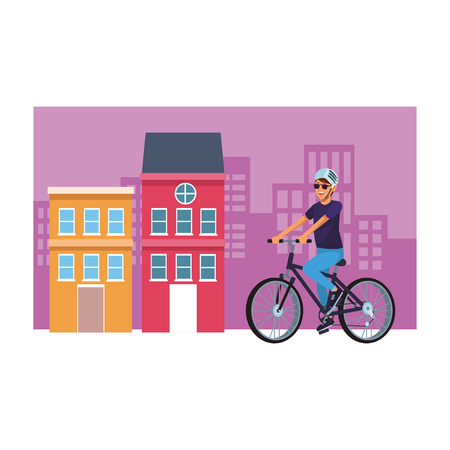 woman with bicicle wearing helmet cityscape vector illustration graphic design