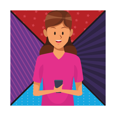 woman with cellphone sport clothes colorful background vector illustration graphic design