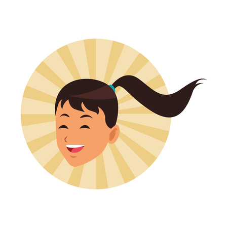 woman with ponytail only face round icon vector illustration graphic design Ilustração