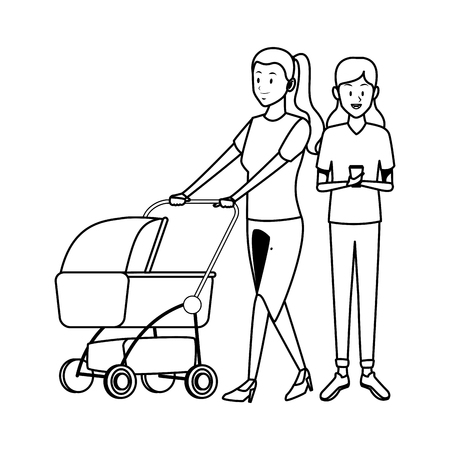 women with pram and cellphone vector illustration graphic design