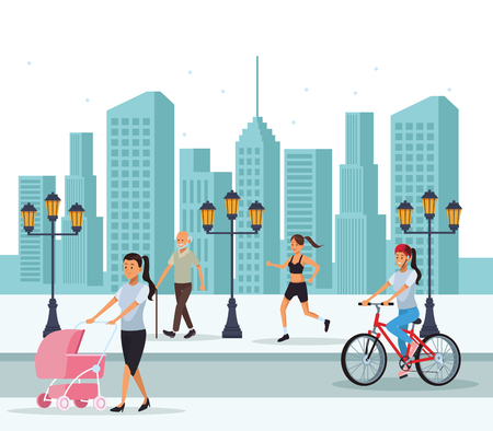 people in the city cyclits old man woman running pram skyscrapers silhouette cityscape vector illustration graphic design