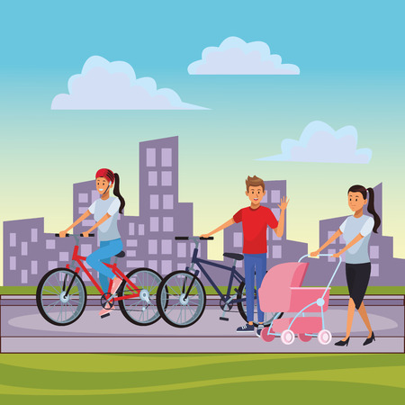 people riding bike with woman and pram cityscape vector illustration graphic design vector illustration graphic design Иллюстрация