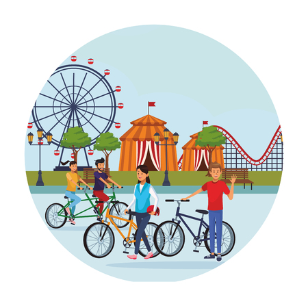 people in the amusement park cyclits ferries wheel circus tent round icon vector illustration graphic design