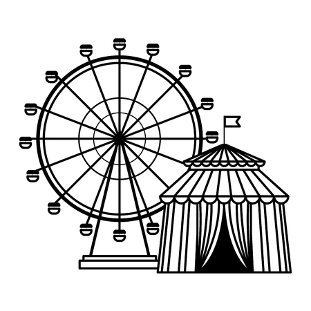ferries wheel icon and circus tent black and white vector illustration graphic design