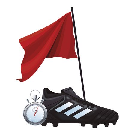 soccer boots and flag stopwatch isolated vector illustration graphic design