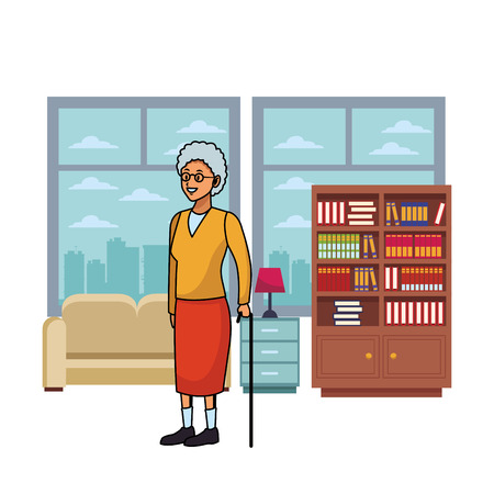 old woman with cane white hair and glasses living room vector illustration graphic design