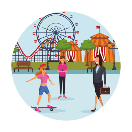 people in the amusement park skateboard businesswoman ferries wheel circus tent round icon vector illustration graphic design