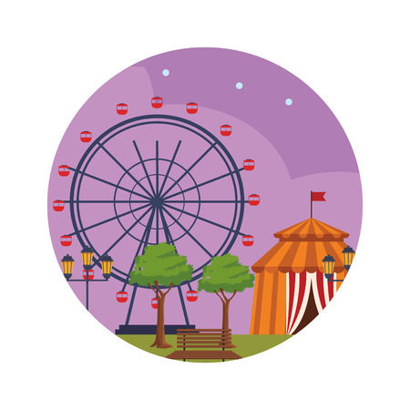 amusement park at night circus tent ferries wheel round icon vector illustration graphic design
