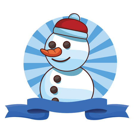 christmas snowman cartoon vector illustration graphic design Illustration