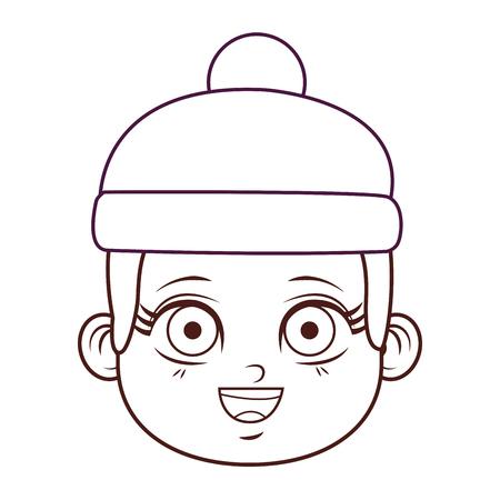 cute winter boy face cartoon vector illustration graphic design
