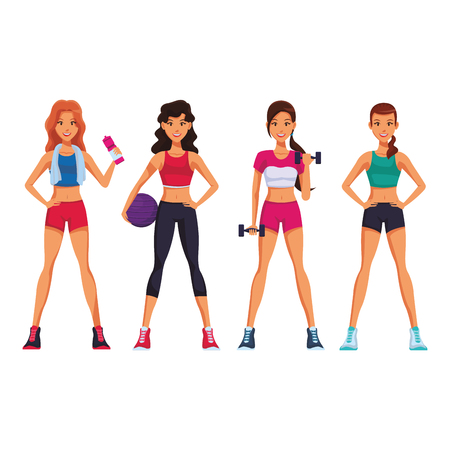 Fitness women cartoon with sport elements vector illustration graphic design Ilustração