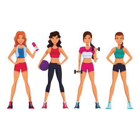 Fitness women cartoon with sport elements vector illustration graphic design Illustration