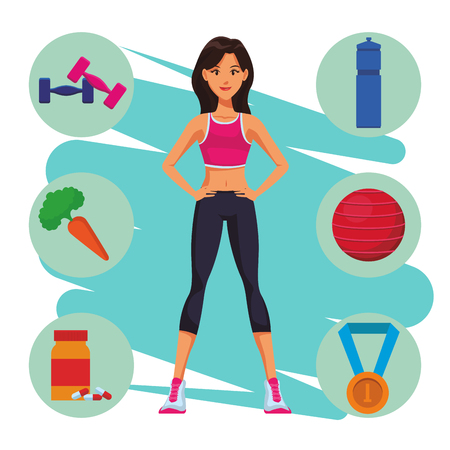 Fitness woman with sport elements cartoon vector illustration graphic design