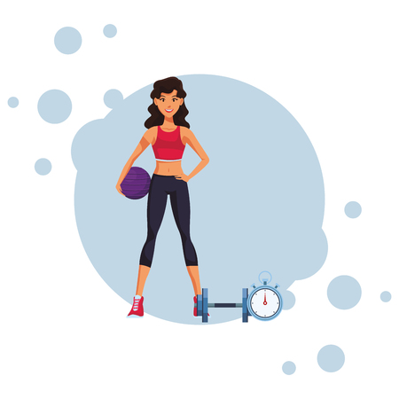 fit woman doing exercise cartoon vector illustration graphic design Vectores
