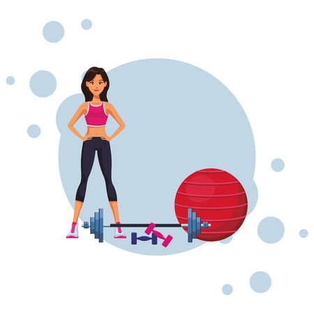 fit woman doing exercise cartoon vector illustration graphic design Ilustrace