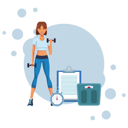 fit woman doing exercise cartoon vector illustration graphic design Illustration