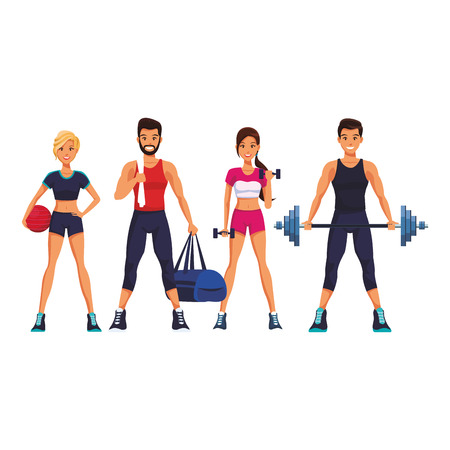 fit people doing exercise cartoon vector illustration graphic design