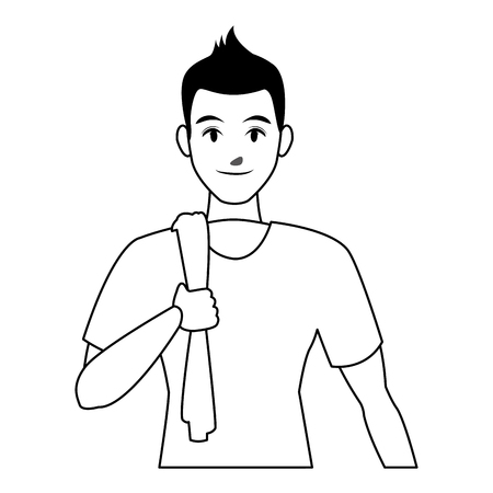 fit man doing exercise cartoon vector illustration graphic design