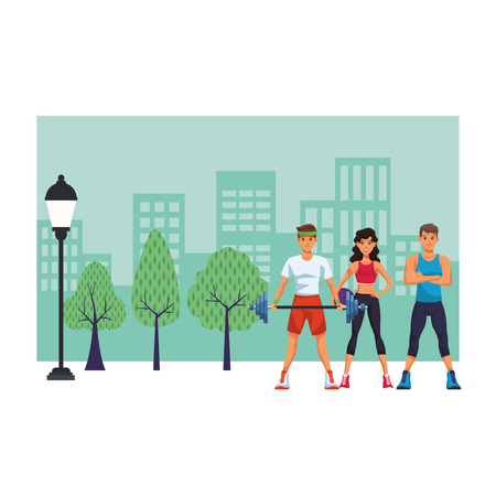 Fitness people in city park cartoon vector illustration graphic design