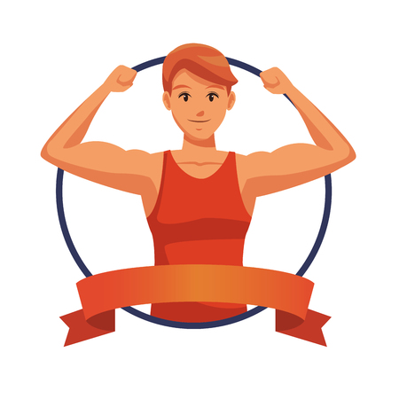 Fitness man with arms flex round label ribbon banner vector illustration graphic design