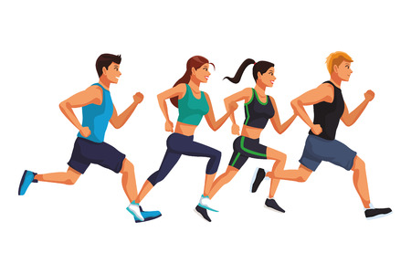 Fitness people running cartoon vector illustration graphic design