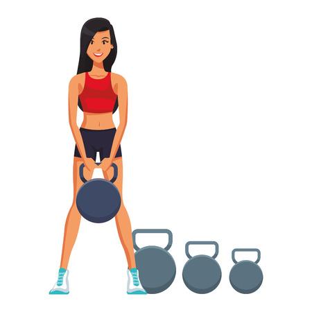 Fitness woman lifting kettlebells vector illustration graphic design