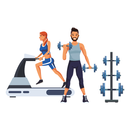 fitness woman and man with dumbbells cartoon vector illustration graphic design