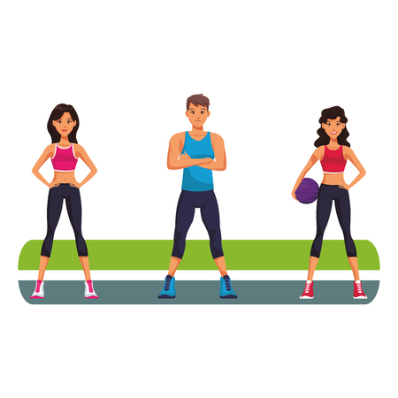 fitness people on park cartoon vector illustration graphic design