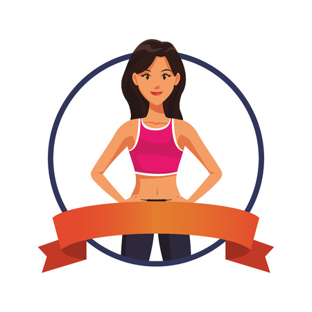 fitness woman body round label ribbon banner vector illustration graphic design