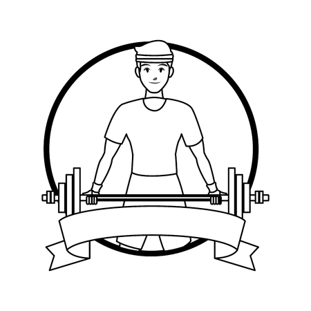 fitness man lifting barbell round label ribbon banner vector illustration graphic design Ilustração