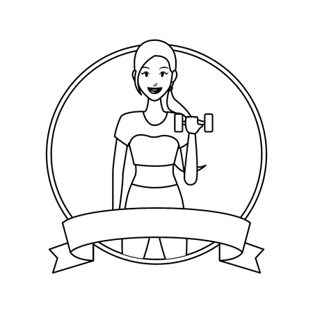 fitness woman with dumbbell round label ribbon banner vector illustration graphic design