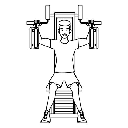 fitnessman on gym chest machine cartoon vector illustration graphic design Illustration