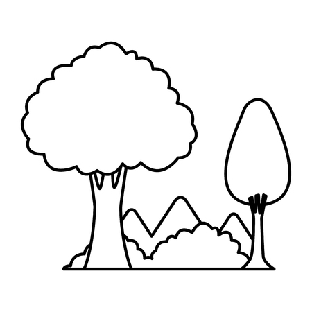 Trees and mountains scenery cartoon vector illustration graphic design Ilustrace