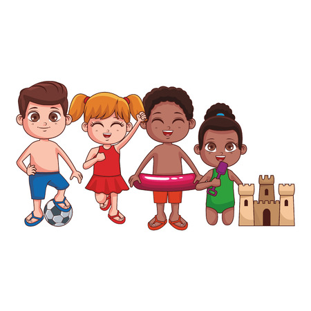 Summer kids boys and girls with sand castle float and ball cartoon vector illustration graphic design vector illustration graphic design