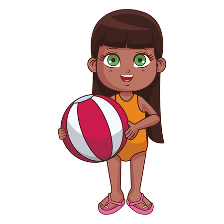 Summer girl with beach ball cartoon vector illustration graphic design Ilustração