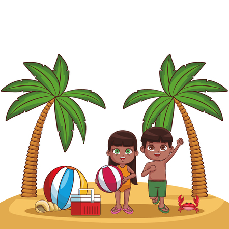 Summer kids boy and girl with palms ball cooler cartoon vector illustration graphic design vector illustration graphic design Ilustrace