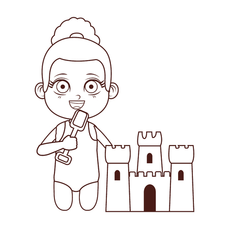 Summer kids girl and sand castle with shovel cartoon vector illustration graphic design vector illustration graphic design