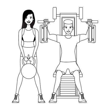 fitness woman lifiting kettlebell and man on chest machine vector illustration graphic design Vector Illustration