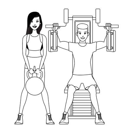 Fitness woman lifting kettlebell et homme sur la poitrine machine vector illustration graphic design Vecteurs