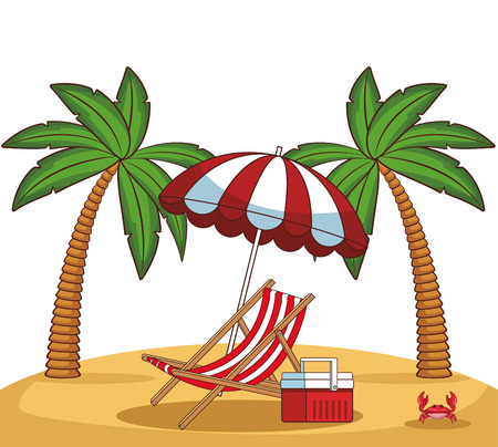 Beach scenery with sunchair cooler and umbrella cartoon vector illustration graphic design