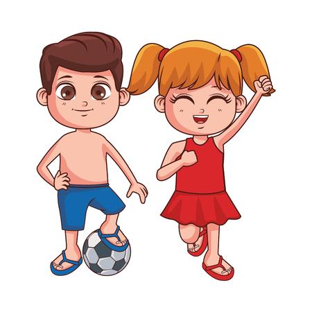 Verano niños niña y niño con balón de fútbol dibujos animados ilustración vectorial diseño gráfico ilustración vectorial diseño gráfico