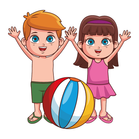 Summer kids boy and girl with ball cartoon vector illustration graphic design vector illustration graphic design