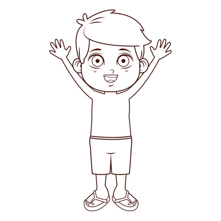Summer boy with arms up cartoon vector illustration graphic design