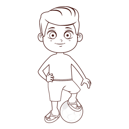 Summer boy with soccer ball cartoon vector illustration graphic design Ilustrace
