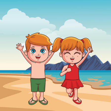 Summer kids boy and girl in the beach cartoon vector illustration graphic design